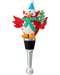 Festive Holiday Owl With Christmas Tree Wine Bottle Topper Art Glass LS Arts