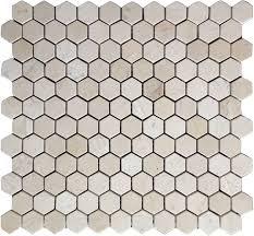 crema marfil marble 1x1 hexagon mosaic tile honed