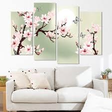 4 stück moderne blume bilder leinwand grün rosa dekoration orchideen malerei wandbilder für wohnzimmer