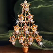 Gold Christmas Tree Pin With Crystal Ornaments