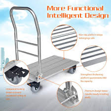 100 Moving Hand Truck Vtuvia Flatbed Push Cart 660 Lbs Folding Aluminum