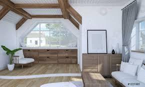foto auf lager weißes wohnzimmer mit holzmöbeln und 3d rendering auf zwei ebenen