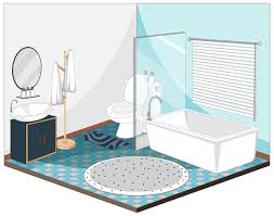 bathroom interior with furniture in blue theme 1482555