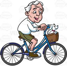 1024x1001 A Grandpa Riding His Bike With Dog Cartoon Clipart
