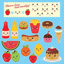 Cute Kawaii Food Characters Fast Sweet Fruit Stock Vector