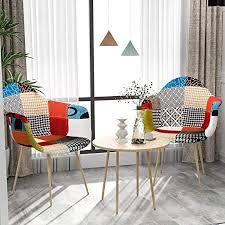 vadim esszimmerstühle mit armlehne 2er set patchwork küchenstuhl mit buchenholzimitat metallbasis design stuhl esszimmer retro