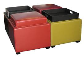 Red Yellow And Black Color Cube Leather Ottoman Tray Table With