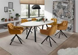 lomado sitzgruppe esszimmer 7 tlg den haag 119 4 6 personen ausziehtisch white glas armlehnenstühle senfgelb mit chesterfield steppung
