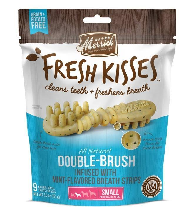 Merrick Fresh Kisses Grain Free Mint Breath Strips Small Dental Dog Treats - 5.5 oz, 9 Count