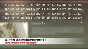 3 letter words that start with R
