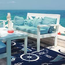 Breakwater Bay Brownsville Nautical Blue Beige Indoor Outdoor Area