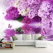 nach wandbild tapete 3d stereo lila blumen fresko wohnzimmer