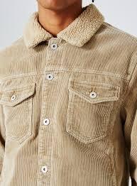 stone faux shearling collar corduroy jacket topman usa