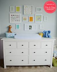 ikea dresser as a changing table in baby blue boy nursery