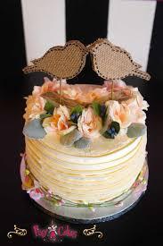 Wedding Cake 1 Tier Birds Rustic Country Frills Flowers Burlap Pixy Cakes