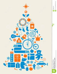 Composition With Silhouette Of Christmas Tree Made Seasonal Gifts Toys Music Instruments And Crystal Balls