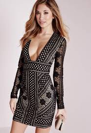 lace long sleeve plunge bodycon dress black missguided