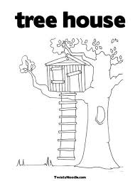 Tree House Coloring Page Twisty Noodle
