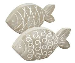 2 x fisch pesces beton grau höhe 12 cm badezimmer bad