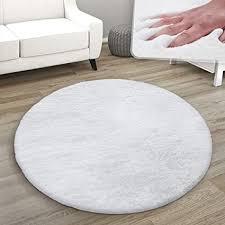 paco home teppich rund fellteppich kunstfell plüsch bettvorleger shaggy wohnzimmer kinderzimmer grösse ø 120 cm rund farbe weiß