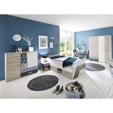 jugendzimmer set mit schreibtisch 5 teilig leeds 10 in sandeiche nb mit weiß lava und denim blau