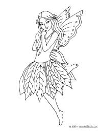 Fairy With Butterfly Leaf Dress To Color