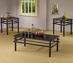 100 Living Room Table Modern Black Metal Base Glass Top 3Pc Coffee Set