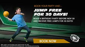 Book A Birthday Party And Jump FREE For 30-Days! Rockin Jump Brittain Resorts Hotels Coupons For Helium Trampoline Park Simply Drses Coupon Codes Funky Polkadot Giraffe Family Fun At Orange County Level Up Your Birthday Partysave To 105 On Our Atlanta Parent Magazines Town Center Now Rockin And Jumpin Trampoline Park Bidesign Coupon Codes February 122 Book A Party Free 30days Circustrix Purveyors Of Awesome