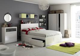 Amazing Image Of Teenage Ikea Bedroom Decoration Using Light Grey Wall Paint Including Modern Mounted White Bookshelf In And