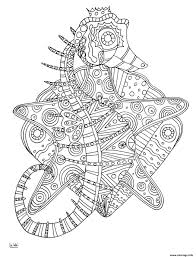 Coloriage Seahorse With Tribal Pattern Adulte Dessin