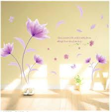 details zu wandtattoo blume pflanze lila wandaufkleber wandsticker wohnzimmer deko blatt