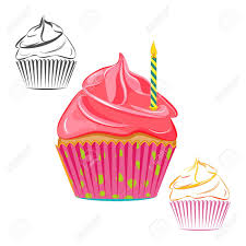 Birthday candle cupcake set isolated on white Pink topping muffin outline line drawing