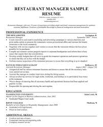 Restaurant Manager Resume Template Work Sample Business Help