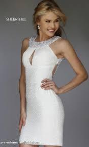 sherri hill short white dress reception dress beaded collar