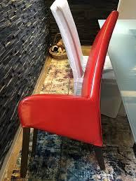 landhausstil polsterstühle kunstleder esszimmer rot dunkelbraun