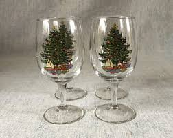 Spode Christmas Tree Highball Glasses by Vintage Tree Wine Glasses Etsy