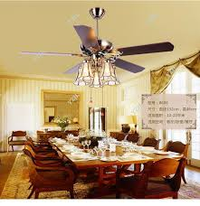 American Art Copper Shade 52inch Ceiling Fan LightsTiffany Living Room Dining Lights With Remote Control