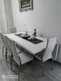 wohn esszimmer tisch 180x90 6 stühle leder massiv glasplatte weiß