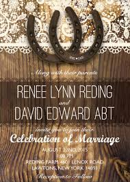 Rustic Horseshoe Wedding Invitation Country