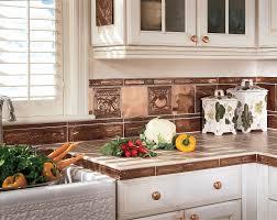 Copper Tiles For Backsplash by Kitchen Kitchen Dining Metal Frenzy In Copper Backsplash Ideas