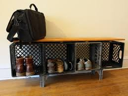 Milk Crate Credenza Great For A Garage Or Mudroom And Could Be Painted Fun Color With Spray Paint