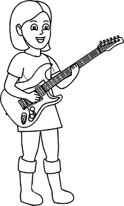 Kids Playing Music Girl The Guitar Coloring Page