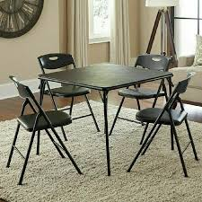 New Cosco 5-Piece Padded Card Table Set Folding Table And Chairs, Black