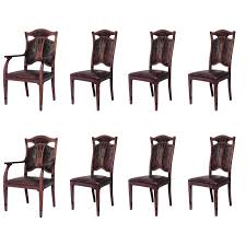Set Of Eight (8) Belgian Art Nouveau Oak And Leather Dining Chairs ... Red Ding Chair Chairs Marvelous Buy Mark Faux Leather 4 Pcs Classy Ding Chair For Sale Fniture Tables On Grey Classic Cream Room For Sale Brown Stylish Set Of Four Suspended Seat Rolf Benz Suede Six Contemporary Brass And Black Pair Ivory Counter Height P Amazoncom Colibroxset Elegant Design
