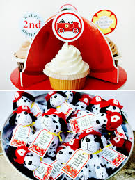 100 Fire Truck Cupcake Toppers Bright BLAZING Man Birthday Party Hostess With The Mostess