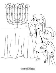 Menorah Kids Lighting The Coloring Page