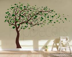 tree blowing in the wind 83inch h nursery playroom wall decals