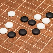 mahogany 0 4 inlaid go board w single convex yunzi stones set