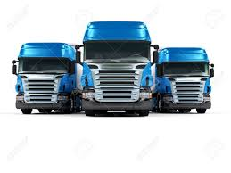100 Blue Trucks Some Isolated On White Background Stock Photo Picture