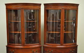 Curved Glass Curio Cabinet Antique by Pair Of 1940s Curved Glass Demilune Form Mahogany Corner China
